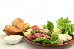 Ingredients ready to make sandwich. View at fresh ingredients ready to make sandwiches Stock Photo