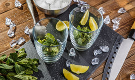 Ingredients for refreshing mojito cocktail. On stone board Royalty Free Stock Photos