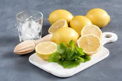 Ingredients for refreshment summer drink. Traditional ingredients for lemonade with lemon mint and ice Wooden squeezer Mint leaf. Refreshment Summer drink Stock Photo