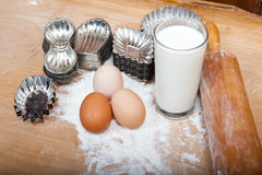 Ingredients and retro cookie cutters for baking dough Stock Photos