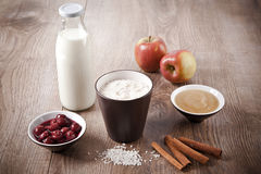 Ingredients of rice pudding Stock Photography