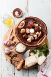 Ingredients for risotto with wild mushrooms Stock Images