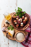 Ingredients for risotto with wild mushrooms Royalty Free Stock Photo