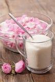 Ingredients for rose jam stock image