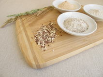 Ingredients for rye bread with rye flour, groats, sourdough and seed mixture Royalty Free Stock Photo