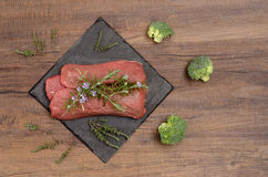 Ingredients for saddle of lamb and herbs Royalty Free Stock Photos