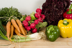 Ingredients for salad. On chopping board Stock Images