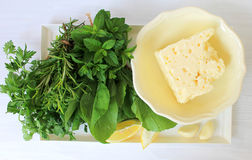 Ingredients for Salad with cheese and herbs Stock Photo