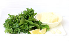 Ingredients for Salad with cheese and herbs Stock Image
