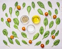 Ingredients for the salad, herbs, oil, pepper, salt and seasonings, on a white rustic background royalty free stock photography