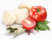 Ingredients for salad with mozzarella Stock Photos