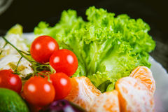 Ingredients for the salad, vegetables, fruit, tasty Royalty Free Stock Photo