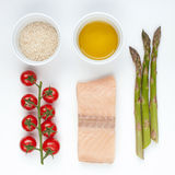 Ingredients for salmon with asparagus Stock Photos