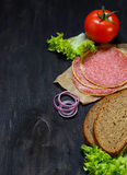 Ingredients for sandwich: bread, tomato, salami, salad, onion Stock Photography