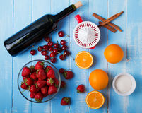 Ingredients for sangria n the wooden table, top view royalty free stock image