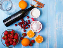 Ingredients for sangria on the wooden table, top view Royalty Free Stock Photo