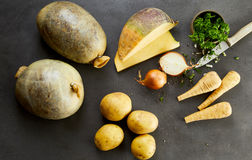 Ingredients for Scottish haggis, neeps and tatties Royalty Free Stock Image