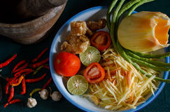 Ingredients set of papaya salad or Som Tum. Local authentic cuisine of southeast asia: ingredients set of papaya salad or Som Tum in Thai name. Popular food of Royalty Free Stock Image