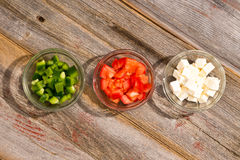 Ingredients for a simple healthy Greek salad Royalty Free Stock Photography