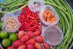 Ingredients for Som tam or Som tum. Thai papaya salad Royalty Free Stock Photography