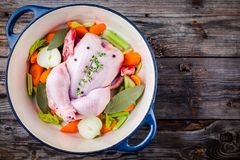 Ingredients for soup broth:  chicken, carrots, celery, onions Royalty Free Stock Photos