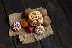 Ingredients for soup or salad: onion, garlic, dill, potato, beetroot Royalty Free Stock Image