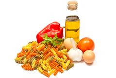 Ingredients and spaghetti Royalty Free Stock Images