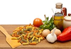 Ingredients and spaghetti Royalty Free Stock Photography