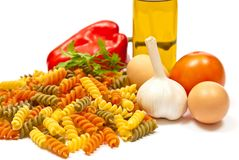 Ingredients and spaghetti Royalty Free Stock Image