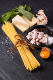 Ingredients for spaghetti alla carbonara Royalty Free Stock Images