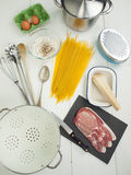 Ingredients for spaghetti alla carbonara Stock Photo