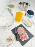 Ingredients for spaghetti alla carbonara Stock Images