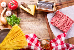 Ingredients for spaghetti bolognese Stock Photos