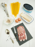 Ingredients for spaghetti carbonara Stock Photography