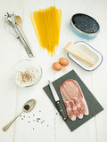 Ingredients for spaghetti carbonara Royalty Free Stock Image