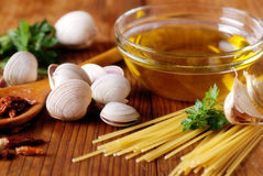Ingredients for spaghetti with clams Royalty Free Stock Photography