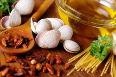 Ingredients for spaghetti with clams royalty free stock images