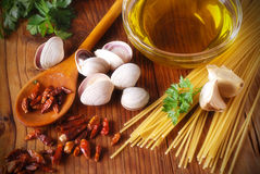 Ingredients for spaghetti with clams stock image