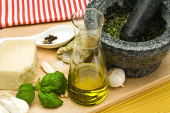 Ingredients for spaghetti pesto Stock Images