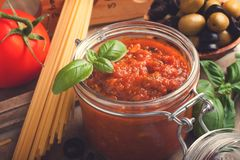 Ingredients for spaghetti with tomato sauce Stock Images