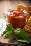 Ingredients for spaghetti with tomato sauce Royalty Free Stock Image