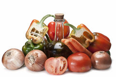 Ingredients for an Spanish gazpacho. Stock Images