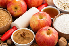 Ingredients and spices for apple pie Stock Images