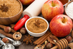 Ingredients and spices for apple pie, top view Stock Photo