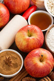 Ingredients and spices for apple pie, top view, vertical Royalty Free Stock Photo