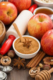 Ingredients and spices for baking apple pie, top view, vertical Stock Photo