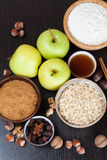 Ingredients and spices for baking apple pie Royalty Free Stock Photo
