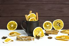 Preparation of a winter warming alcoholic beverage with spices and wine - mulled wine Stock Photography