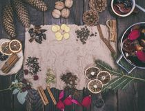 Ingredients for the preparation of  liquor mulled wine Royalty Free Stock Photography