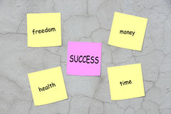 Ingredients for success. Success concept and four related words written on notes: freedom, money, health, time Stock Images